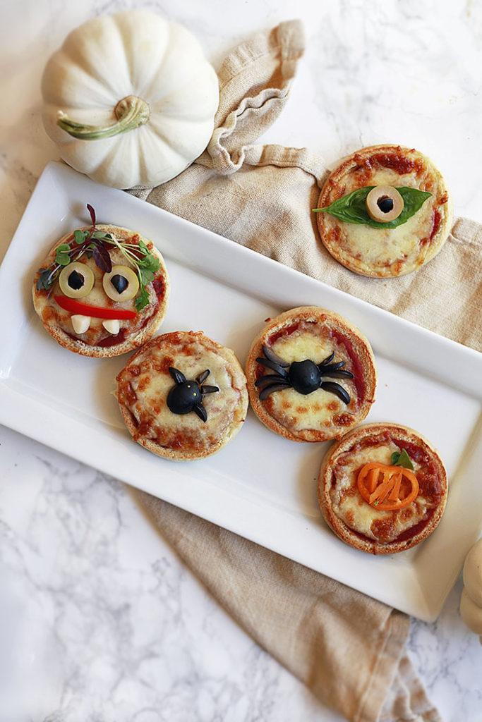 Halloween themed mini pizzas